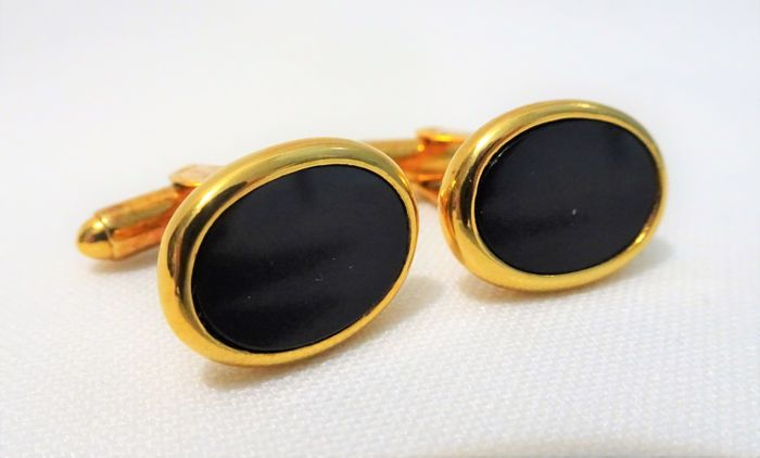 Christian Dior Paris Gold cufflinks with black onyx - 1970s