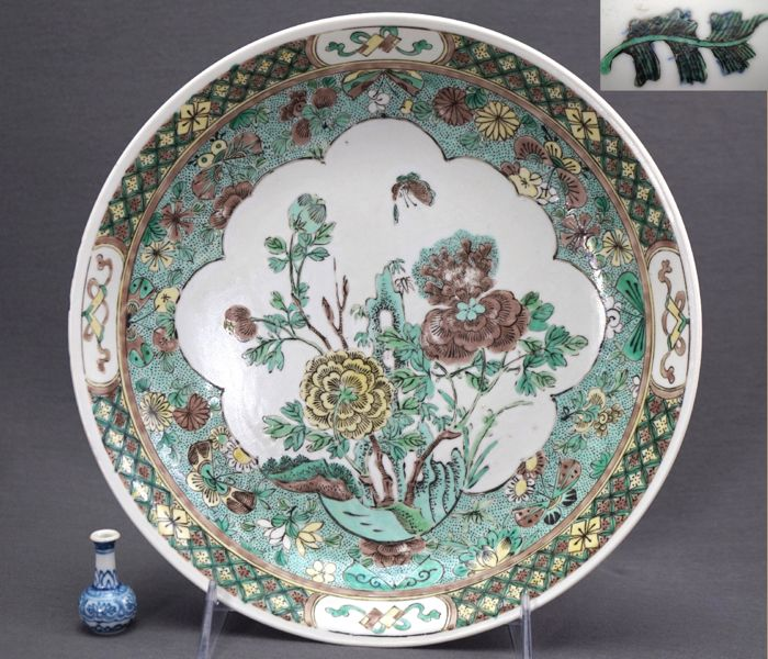 Deep biscuit famille verte dish with hidden six-character mark behind artemisia leaf - China - late Qing dynasty