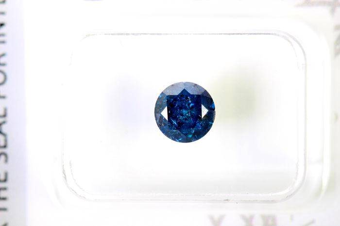 * NO RESERVE PRICE * - AIG Antwerp Sealed - Fancy Deep Blue Diamond (Colour Treated) - 0.90 ct