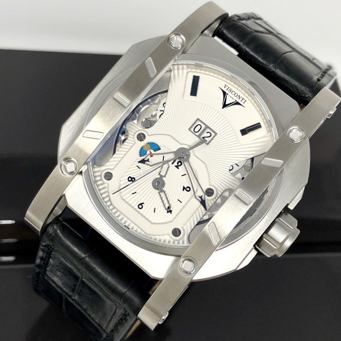 Visconti - GMT Dual Time Grand Date Elegance Alligator Strap - W102-00-104-01 - Hombre - NEW