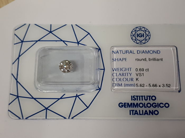 Natural diamond, weight 0.69 ct, colour K, clarity VS1