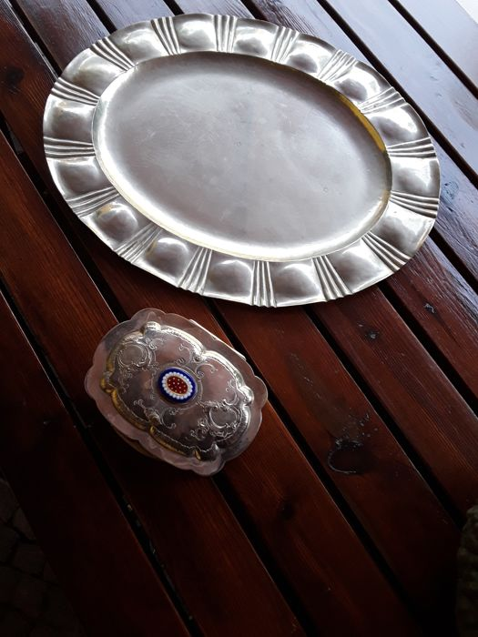 Pair of tray and box - silver plated