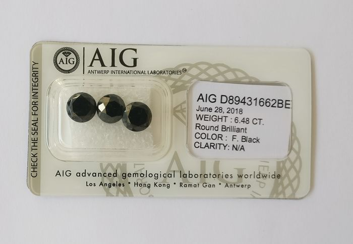 Couple of 3 Round cut diamonds total 6.48 ct Fancy Black