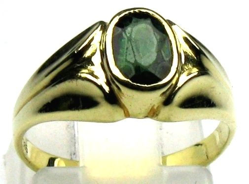 Tourmaline ring, solid 14 kt/585 yellow gold, size 50/15.9 mm