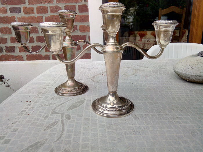 Candlestick - 2 - Silver Plated Metal - Irland - 1900-1949