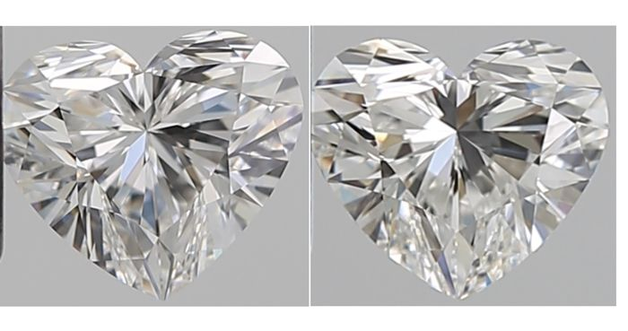 2 pcs Diamantes - 1.42 ct - Corazón - F - IF (Inmaculado), VVS1