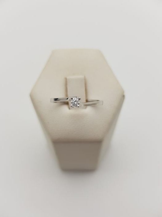 Anillo - Oro, Oro blanco - 0.1 ct - Diamante