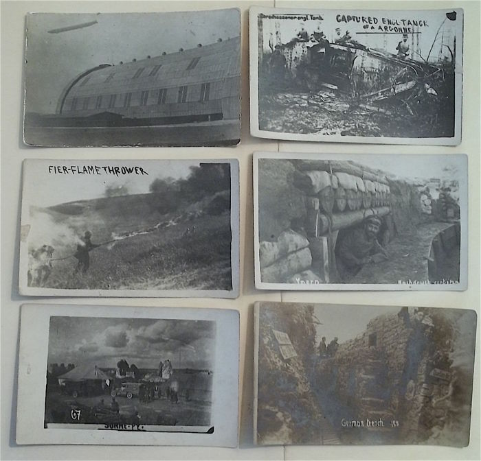 WW1, Six Real Photo Postcards