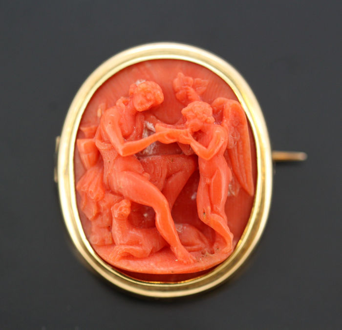 Antique Victorian 15k gold carved coral brooch, Made in England Circa 1880's