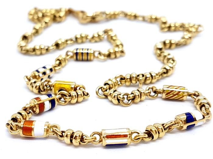 Necklace - Enamelled links - 18 kt yellow gold - Length: 50 cm