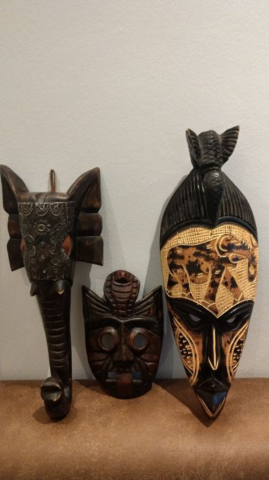 3 wooden masks - Africa