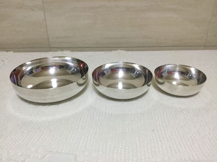 """ChristofleChristofle bowls """"Gallia"""" Collection - Set of 3 - Silver plated - France - 1900-1949"""