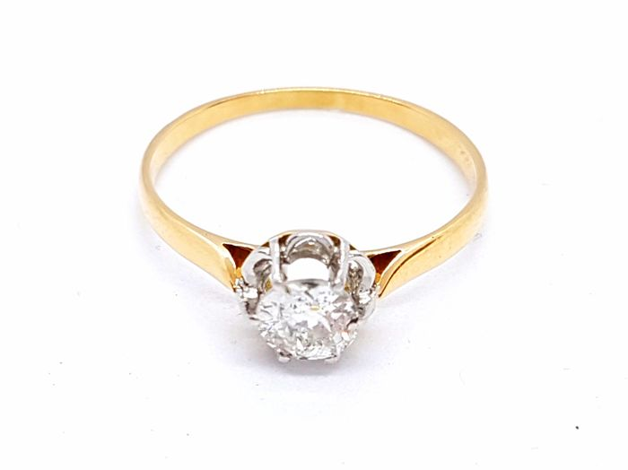 Ring - Solitaire - 18 kt Yellow Gold - 0.46 ct Diamond - Size 55 EU