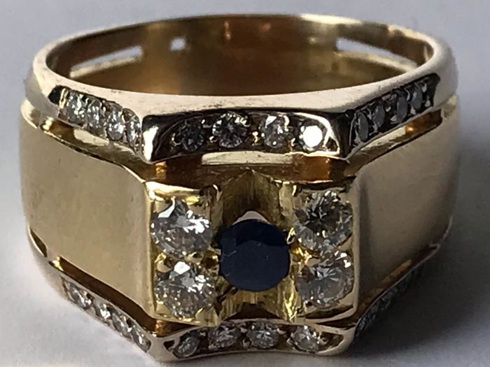 Ring - Gold - Natural (untreated) - Sapphire and Diamond