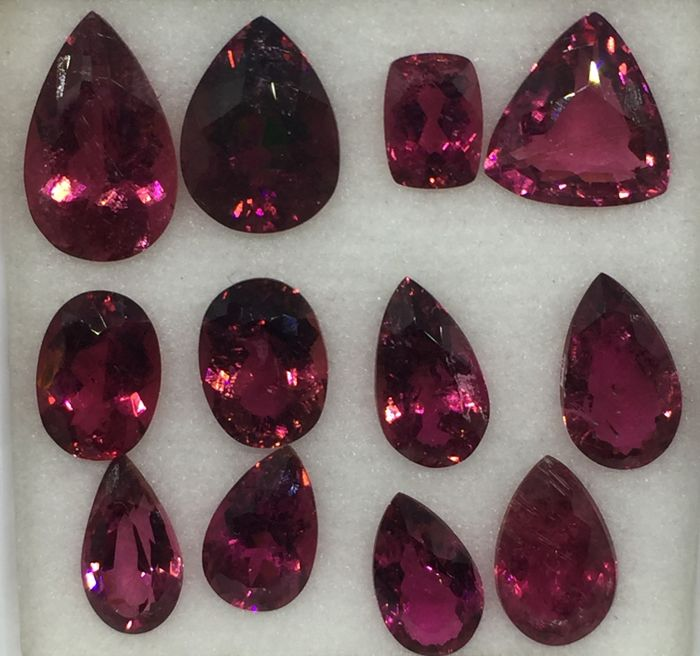 Rubellite Tourmaline  -  29.75 cts - 12 pieces