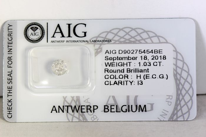 AIG Antwerp Diamond - 1.03 ct - Colour: H, Clarity: I3