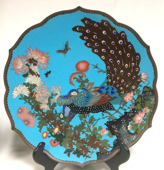 A fine and rare cloisonne 'peacock' charger - Japan - late 19th century (Meiji period)