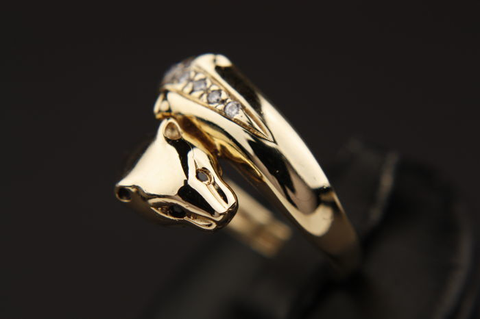 Panther ring - 14 kt gold - 2 heads - Mixed stones