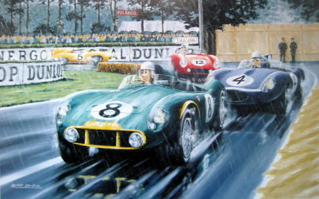 """Kuvataide Print """"King and his Court"""" - Aston Martin DB3S #8 Moss/Collins - Le Mans - 1956 (1 tuotteet)"""