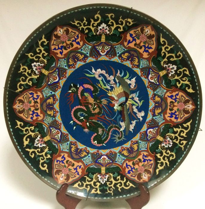 A very large (46cm) cloisonne charger - Japan - late 19th century (Meiji period)