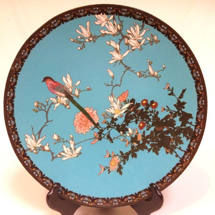 HASEGAWA & CO, Cloisonne charger - Kobe, Japan - late 19th/ early 20th century (Meiji period)