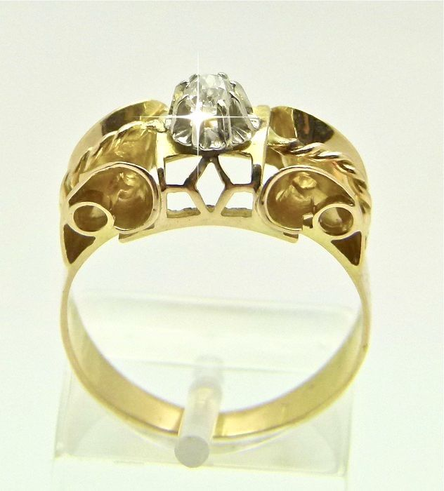 Antique tank - 18 kt - Ring Diamant