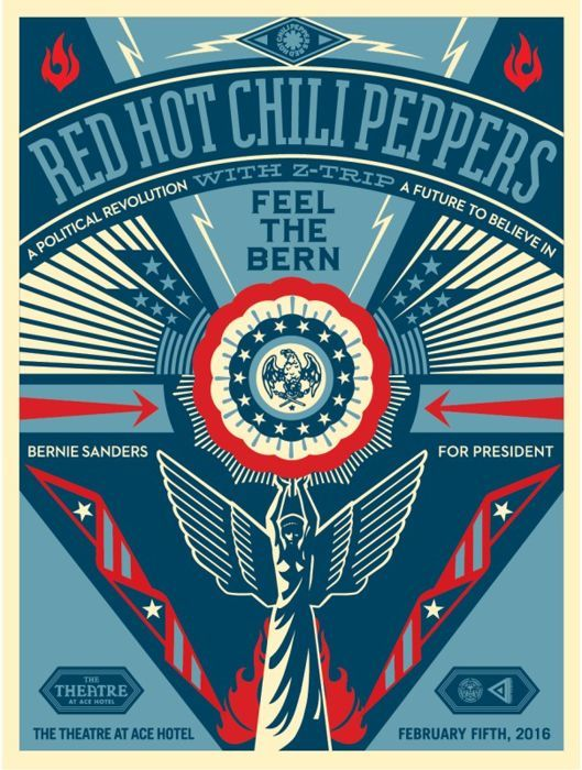 Shepard Fairey (OBEY) - Red Hot Chili Peppers - Feel The Bern