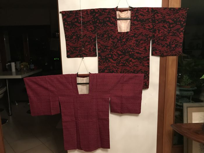 Two vintage silk Michiyuki 道行 - Japan - first half of the 20th century.