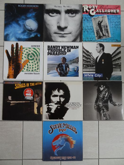 mixed Lot of 10 pieces of Rock and Pop vinyl albums - some rare