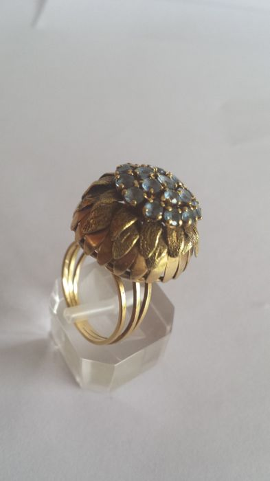 Rose gold ring with blue topaz  no reserve price