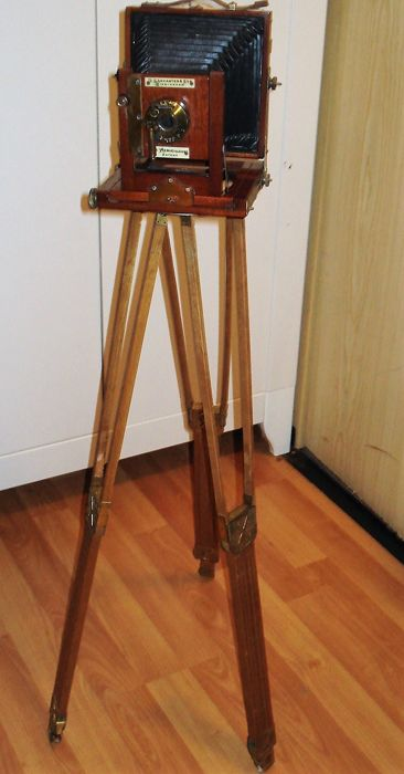Antique plate bellows camera, Holzreiscamera, Lancaster Sons with tripod
