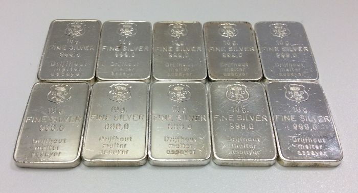 H. Drijfhout & Z.n. - 10 x 10 grams - 999/1000 - Minted silver bars