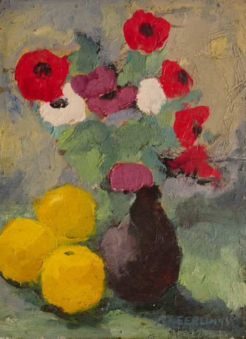 Anton Geerlings - Stilleven bloemen en fruit
