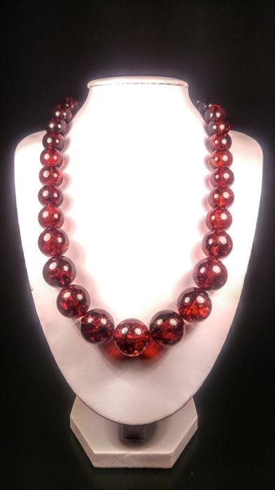Massive Cherry colour perfect round beads Baltic amber necklace, 76 grams