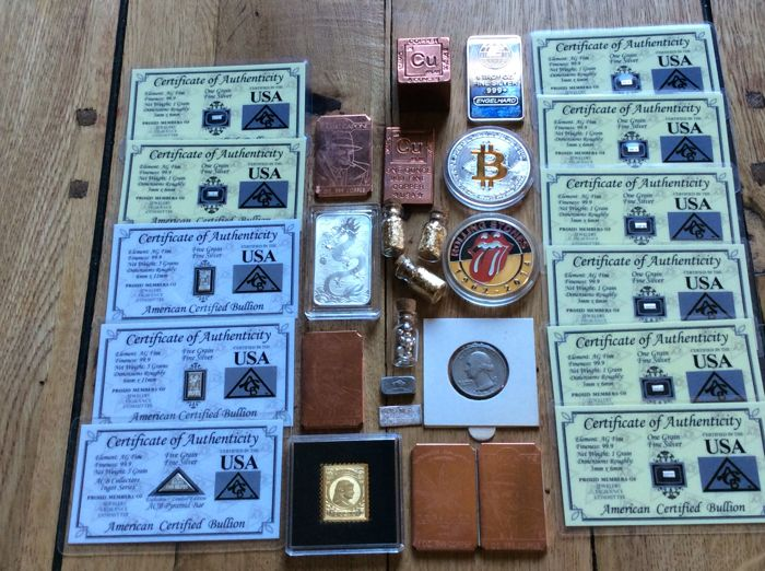 Precious metals collectors lot Perth Mint/Engelhard fine silver bars/liberty A. B. C zilvercard99.9// Wilhelmina Gold stamp 7 gr atomic copper 4-style/copper bars bitcoingold- vials/certification/serial number.