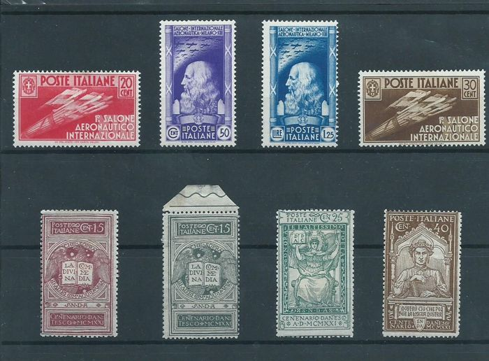 Italy 1921/1931 - Death of Dante and unissued + Airshow - Sassone S20 + 116A, S81
