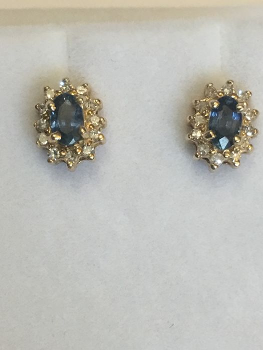 Earrings - Gold - Natural (untreated) - Sapphire and Diamond