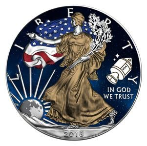 Usa 1 Dollar 2018 Liberty Eagle Apollo 11 1oz Coin Silver