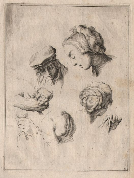 Abraham Bloemaert (1564-1651) - Drawing study of hands and heads