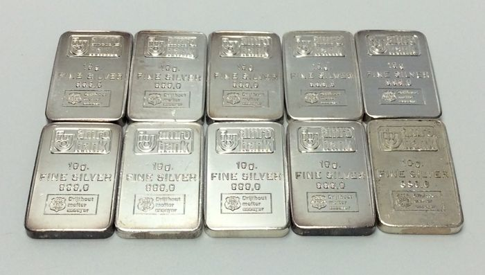 H. Drijfhout & Z.n. - 10 x 10 grams - 999/1000 - Minted silver bars - AMRO Bank - Sealed
