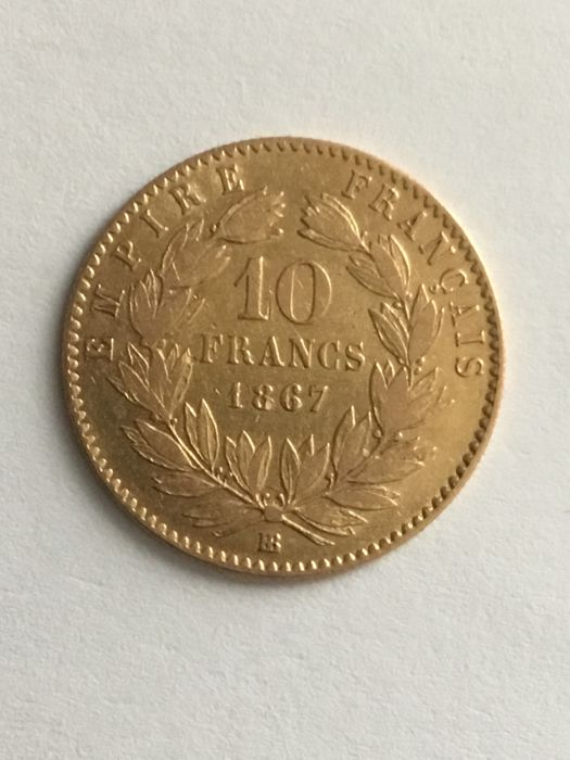 10 Francs 1867-BB Napoleon III - Or