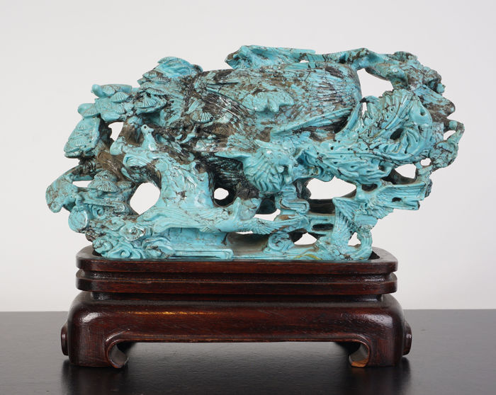 Turquoise stone sculpture made of brushwash - China - mid 20th century