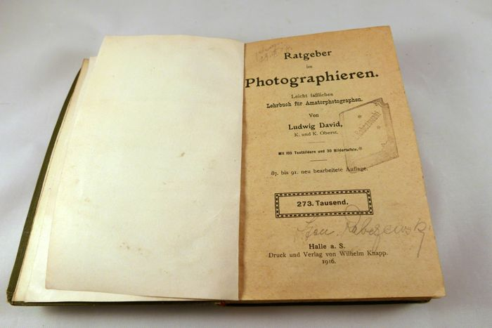 """Ratgeber im Photographieren"" - Ludwig David, 1917 - a very old German book about photography"