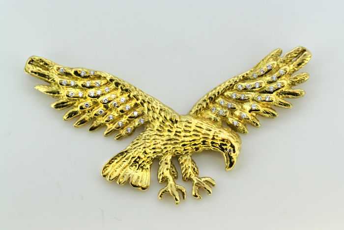 French 18k yellow gold eagle pendant with diamonds - Gold