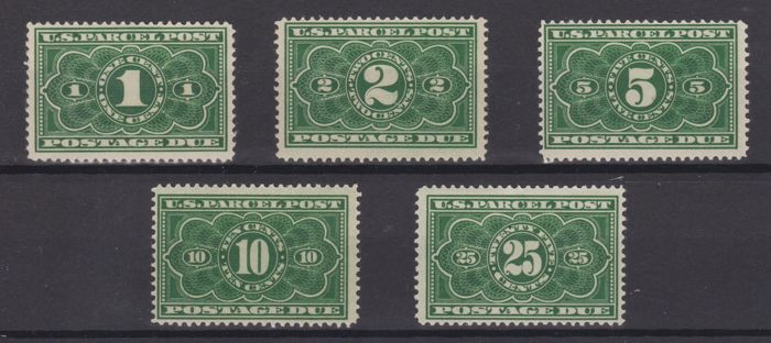 United States of America 1912 - Postage due for parcel post, complete series - Unificato 1/5