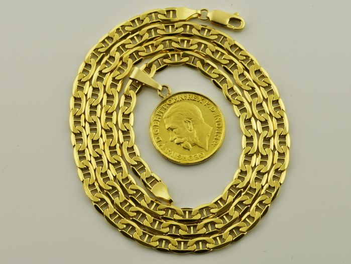 Necklace in 18 kt gold with 22 kt gold medal