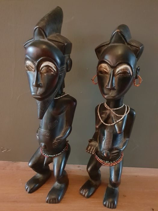 Couple of sculptures Blolo Bian & Blolo Bla - Baule - Ivory Coast