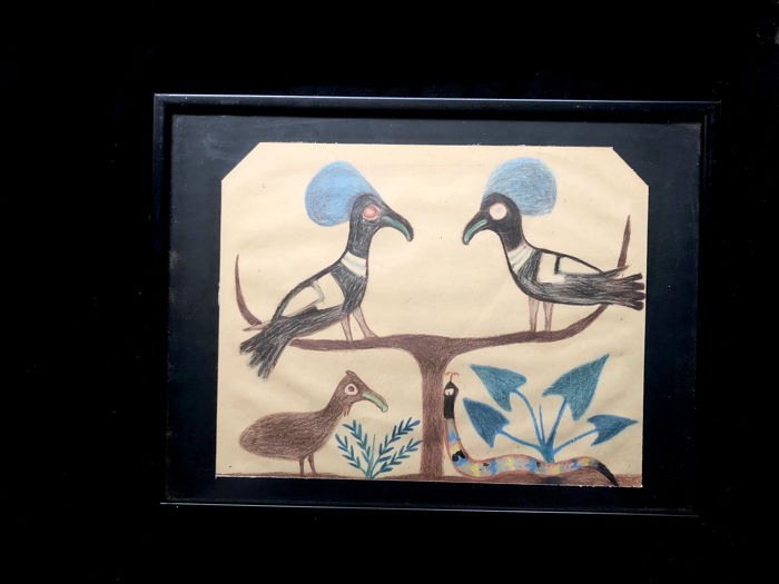 Drawing on paper made by an ASMAT schoolboy - West Papua