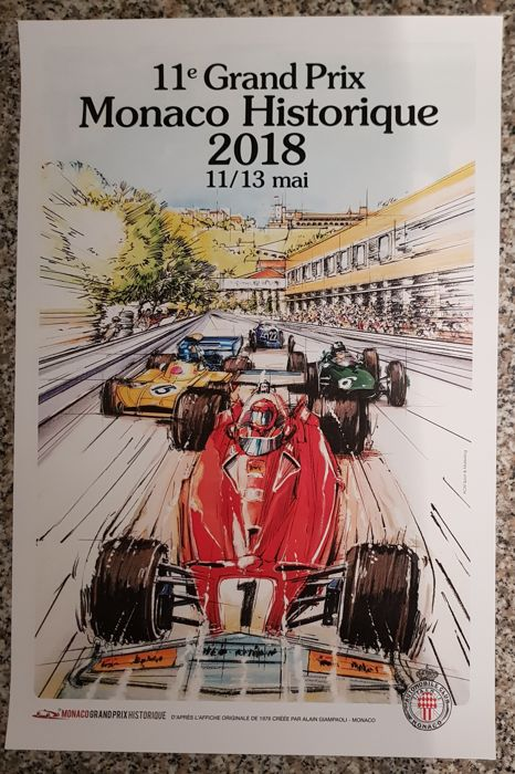 11th MONACO HISTORIC GRAND PRIX - Poster / Poster Official Copy Not For Sale - Made in Monaco - 2018