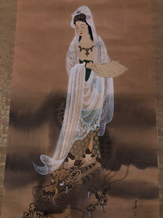 Japanese hand-painted Kannon scroll painting - Japan, second half of the 20th Century